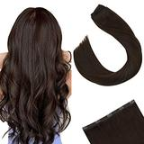 Ugeat Clip in Real Hair Extensions One Piece 18 Inch Clip in One Piece Hair Extensions Dark Brown #4 Real Hair Extensions Clip in Human Hair One Piece 50Gram Extensions Human Hair Natural