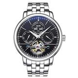 TEINTOP Carnival Men's Complications Automatic Mechanical Wrist Watch Large Dial (Black Dial-Steel Band)