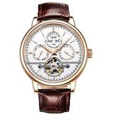 TEINTOP Carnival Men's Complications Automatic Mechanical Wrist Watch Large Dial (Rose Gold White Dial-Leather Band)