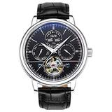 TEINTOP Carnival Men's Complications Automatic Mechanical Wrist Watch Large Dial (Black Dial-Leather Band)
