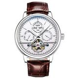 TEINTOP Carnival Men's Complications Automatic Mechanical Wrist Watch Large Dial (White Dial-Leather Band)