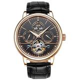 TEINTOP Carnival Men's Complications Automatic Mechanical Wrist Watch Large Dial (Rose Gold Black Dial-Leather Band)
