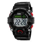 Mastop Men Sport Watch Talking Music Alarm Clock LED Digital Watches Outdoor Men Military Shockproof Waterproof Watch (Red)