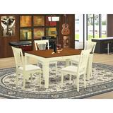 Rosecliff Heights Eastham 5 - Piece Butterfly Leaf Rubberwood Solid Wood Dining SetWood/Upholstered Chairs in Brown/White, Size 30.0 H in | Wayfair