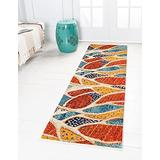 Unique Loom Positano Collection Coastal Modern Abstract Oceanic Area Rug_CAP005, 2' 7 x 10' 0, Rust Red/Beige
