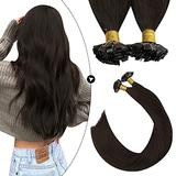 Ugeat Flat Tip Hair Extensions Brown 24 Inch Hot Fusion Hair Extensions Human Hair 50strands Keratin Fusion Hair Extensions Human Hair Dark Brown #4 Pre Bonded Hair Extensions