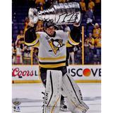 """Marc-Andre Fleury Pittsburgh Penguins 2017 Stanley Cup Champions Autographed 8"""" x 10"""" Raising Photograph"""