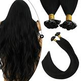 Ugeat Flat Tip Hair Extensions 18 Inch Flat Tip Keratin Hair Extensions 50strands Fusion Hair Extensions Human Hair Off Black Keratin Fusion Hair Extensions Human Hair