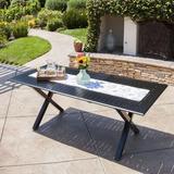 Gracie Oaks Lourdes Cast Aluminum Extendable Dining Table, Metal in Black, Size Medium (Seats 5 to 7) | Wayfair GRKS3012 40221657