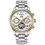 CARNIVAL Mens tourbillon Automatic Machine Gold Stainless Steel Sapphire Waterproof Mens White Watch