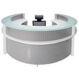 White Semi-Circular Glass Top Reception Desk