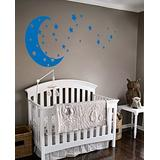 Moon and Stars Night Sky Vinyl Wall Art Decal Sticker Design for Nursery Room DIY Mural Decoration (Azure Blue, 22x49 inches)