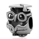 Doctor Owl Charm 925 Sterling Silver Graduation Charm Bird Charm Animal Charm Anniversary Charm for Pandora Charms Bracelet (A)