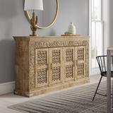 Bungalow Rose Aveliss Brown Solid wood Sideboard Wood in Brown/Gray, Size 41.0 H x 76.0 W x 17.0 D in | Wayfair BNRS6603 40066767
