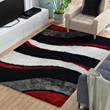 Orren Ellis Abia Abstract Handmade Tufted Black/Gray/Red Area Rug Polyester/Cotton in Brown, Size 120.0 H x 96.0 W x 0.75 D in | Wayfair