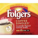 Folgers Coffee Singles Classic Roast-19 Coffee Bags (19 Bags Pack of 4 - 76 Bags)