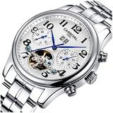 CARNIVAL Mens tourbillon Automatic Machine Silver Stainless Steel Sapphire Waterproof Mens White Watch