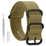 22mm Army Green Nylon Style Sturdy Exotic Soft Canvas Sport Men's Wrist Watch Band Wristband …