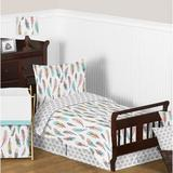 Sweet Jojo Designs Feather 5 Piece Toddler Bedding Set Polyester in Blue/Gray/Green | Wayfair Feather-Tod