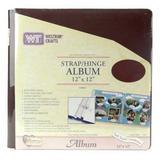 12x12 Burgundy Strap Hinge Soft Leatherette Album