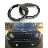 Bolaxin Black Headlight Trim Head Lamps Cover Ring Trim Compatible for Jeep Patriot 2011-2017 Model