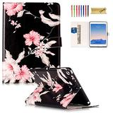 Dteck iPad 9.7 2018/2017, iPad Air 2, iPad Air Case - [Corner Protection] Premium Leather Folio Stand Cover with Card Slots Magnetic Cover for Apple iPad 6th/ 5th Gen, iPad Air 1/2, Pink Floral