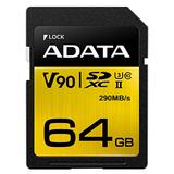 ADATA Premier ONE 64GB SDXC UHS-II U3 Class10 V90 3D NAND 4K 8K Ultra HD 290MB/s SD Card (ASDX64GUII3CL10-C)