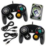 Gamecube Controller (2 Pack) Bundle with 2 Wired Controllers, Extension Cords and 128MB Memory Card - Nintendo Gamecube Controller Official Bundle Pack by MarioRetro