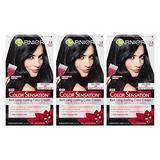 Garnier Color Sensation Hair Color Cream, 1.0 In the Black (Black), (Pack of 3) (Packaging May Vary)