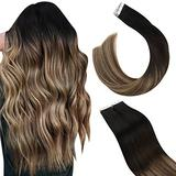 Ugeat Tape in Hair Extensions Human Hair, Tape in Hair Extensions Brown 14inch Tape in Real Hair Extensions 50g 20pcs Tape in Remy Hair Extensions Human Hair #1B/4/27 Tape Hair Extensions
