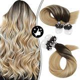 Moresoo 22 Inch Hair Extensions Micro Ring Loop Hair Extensions Human Hair Real Human Hair Color #2 Darkest Brown to #27 Blonde Mixed #613 Bleach Blonde Hair Extensions Microlink Hair 50g 50s