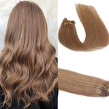 Remy Human Hair Extensions Golden Brown Clip in Remy Human Hair Extensions 20 inches 70g Full 7 Piece Silky Long Straight Double Weft Real Hair (#12)