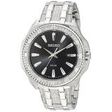 Seiko Men's Crystal Solar Stainless Steel Japanese-Quartz Watch with Stainless-Steel Strap, Silver, 21 (Model: SNE457)
