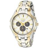 Seiko Men's Solar Chronograph Stainless Steel Japanese-Quartz Watch with Two-Tone-Stainless-Steel Strap, 20 (Model: SSC634)