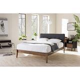 Baxton Studio Leyton Mid-Century Modern Upholstered Platform Bed Queen
