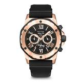Bulova Marine Star Chronograph Mens Stainless Steel with Black Silicone Strap, Two-Tone (Model: 98B104)