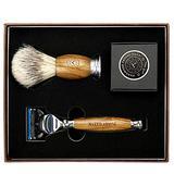 Luxury Wet Shaving Kit - Elegant Sandalwood 5 Blade Razor, Replaceable Head Razor + Badger-Friendly Shave Brush + Organic Shave Soap, Great Beginner Shaving Kit for Men, Men Shaving Kit, Awesome Gift