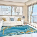 Highland Dunes Coeymans Floral Hand Hooked Area Rug in Blue, Size 84.0 H x 60.0 W x 0.5 D in | Wayfair HLDS3493 40766093