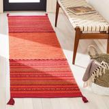 World Menagerie Bokard Striped Hand-Woven Flatweave Cotton Area Rug Cotton in Orange/Red, Size 96.0 H x 27.0 W x 0.25 D in | Wayfair