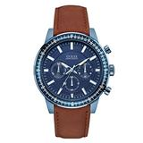 Guess Watches Men's Guess Men's Leather Brown-Blue Watch