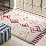 Union Rustic Powell Southwestern Handmade Tufted Wool Beige/Pink Area Rug Polyester/Viscose in Brown/Pink, Size 72.0 H x 48.0 W x 1.0 D in   Wayfair