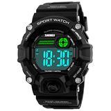 Men Sport Watch Talking Music Alarm Snooze LED Digital Watches Outdoor Military Shockproof Luminous Watch (Black)