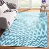 Ebern Designs Haqeem Chevron Hand-Woven Flatweave Cotton Blue Area Rug Cotton in Blue/Brown, Size 96.0 W x 0.25 D in   Wayfair VRKG5305 40777070