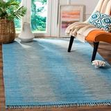 Highland Dunes Cayman Abstract Handmade Flatweave Cotton Light Blue Area Rug Cotton in White, Size 60.0 H x 36.0 W x 0.25 D in | Wayfair