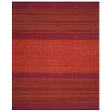 World Menagerie Bokard Striped Hand-Woven Flatweave Cotton Area Rug Cotton in Orange/Red, Size 120.0 H x 96.0 W x 0.25 D in | Wayfair