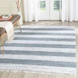Highland Dunes Yokum Striped Handmade Flatweave Cotton Ivory/Gray Area Rug Cotton in Brown/Gray, Size 72.0 H x 72.0 W x 0.25 D in   Wayfair
