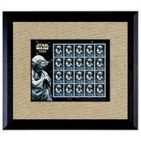 Red Barrel Studio® Wilkes Star Wars Yoda U.S. Stamp Sheet Wood Picture Frame Wood in Black/Brown, Size 14.0 H x 16.0 W x 0.5 D in | Wayfair