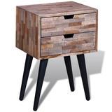 vidaXL Side Cabinet with 2 Drawers Reclaimed Teak Wood