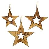 Gracie Oaks 3 Piece Star Holiday Shaped Ornament Set Wood in Brown, Size 9.0 H x 9.0 W x 1.0 D in | Wayfair GRKS5170 41117108