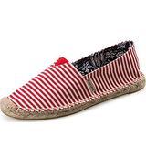 Alexis Leroy Women's Summer Stripe Canvas Flat Espadrilles Red 37 M EU / 6-6.5 B(M) US